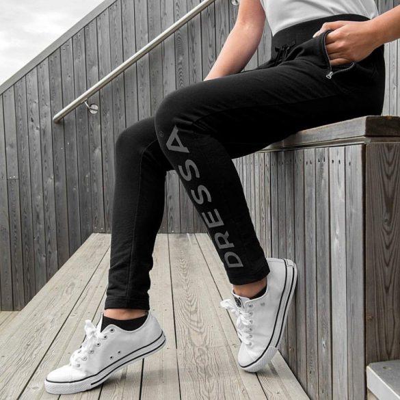Női cipzáros pamut melegítő nadrág - fekete