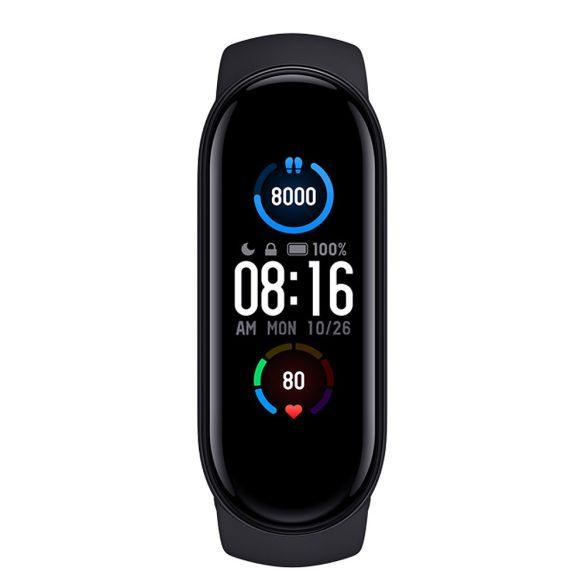 FlagFit M5 Plus Smart Band pulzus-, vérnyomás- és véroxigénmérő női okoskarkötő magyar nyelvű alkalmazással - Fekete