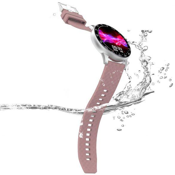 ProWear H30 pulzus-, vérnyomás- és véroxigénmérő multisport IP68 vízálló okosóra magyar nyelvű alkalmazással - Ezüst óraház, pink szíj