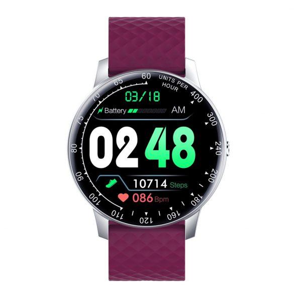 ProWear H30 pulzus-, vérnyomás- és véroxigénmérő multisport IP68 vízálló okosóra magyar nyelvű alkalmazással - Ezüst óraház, lila szíj