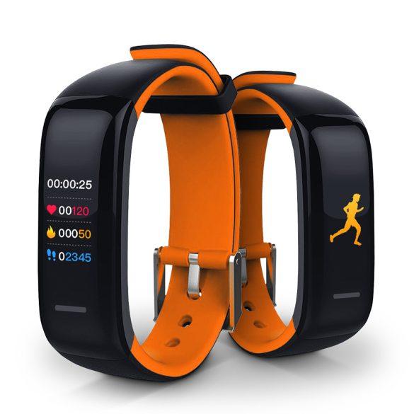 ProWear Band P1 pulzus- és vérnyomásmérő IP67 vízálló okoskarkötő magyar nyelvű alkalmazással - Narancs