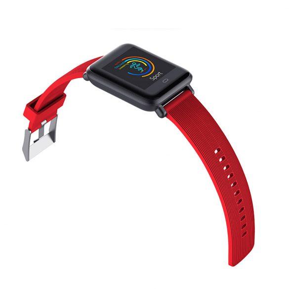 ProWear Q9 pulzus- és vérnyomásmérő multisport okosóra ajándék pótszíjjal, magyar nyelvű alkalmazással - Fekete + Piros